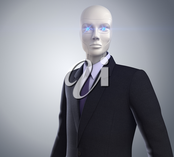 robot dressed in a business suit
