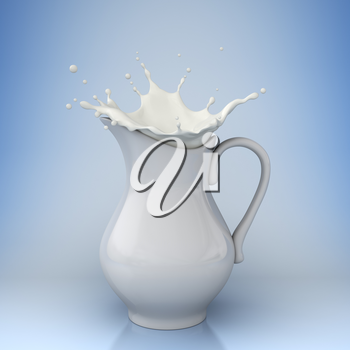 milk splashing from a jug