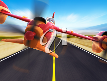 Sport racing aircraft is flying above a highway