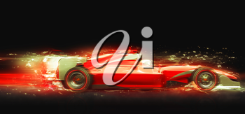 Formula One race car with light effect. Race car with no brand name is designed and modelled by myself