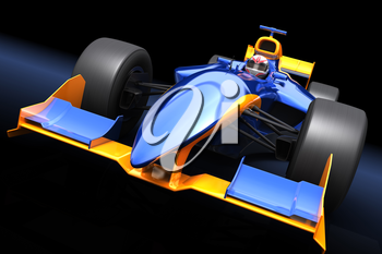 Generic blue race car on the black background