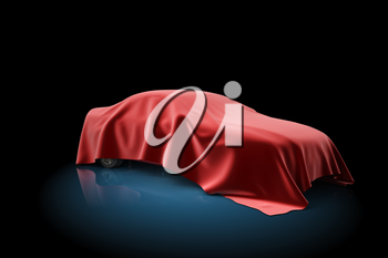 3D illustration of the car covered red fabric