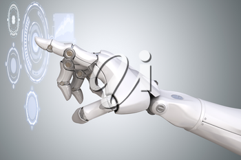 Robot's arm working with Virtual Reality touchscreen. 3D illustration