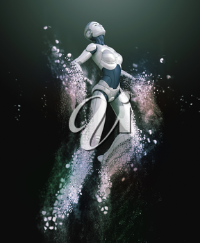 Robot-android shattered into dust. 3D illustration