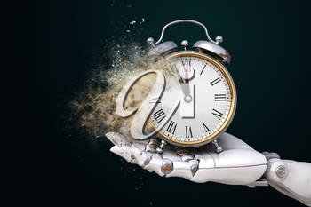 Robot hand holding an alarm clock crumbling down into the dust. 3D illustration