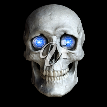 Skull with glowing cyber eyes.3D illustration