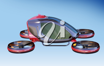 Electric Passenger Drone flying in the sky. This is a 3D model and doesn't exist in real life. 3D illustration