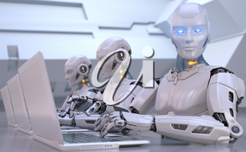 Robots working with laptop. 3D illustration