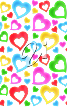 Seamless colorful hearts texture