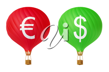 Color currency hot air balloons: dollar and euro