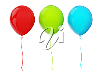 Multi-colored balloons. RGB colors. 3d render with HDR
