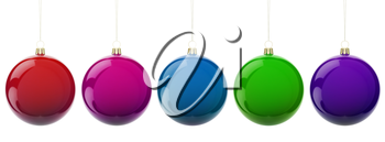 Multi-colored Christmas balls hanging on white. 3d render with HDR