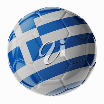 Football/soccer ball with flag of Greece. 3D render