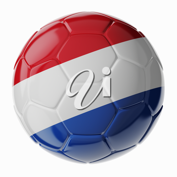 Football/soccer ball with flag of Netherlands 3D render