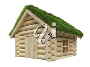 Wooden house isolated on white. Grassy roof. 3D render