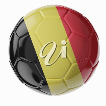 Football/soccer ball with flag of Belgium 3D render