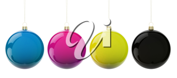 Multi-colored Christmas balls hanging on white. CMYK colors. 3d render with HDR