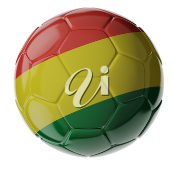 Football/soccer ball with flag of Bolivia. 3D render