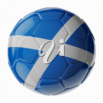 Football soccer ball with flag of Scotland. 3D render