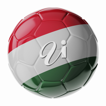 Football soccer ball with flag of Hungary. 3D render