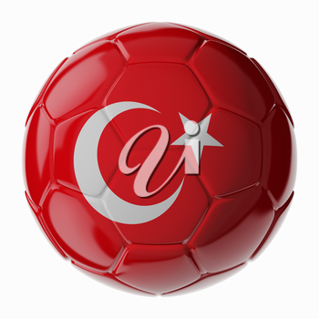 Football soccer ball with flag of Turkey. 3D render