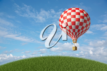 Red-white Hot Air Balloon in the blue cloudy sky. 3D render