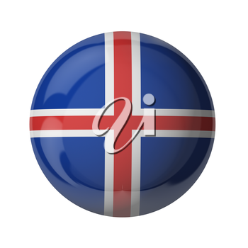 3D flag of Iceland isolated on white