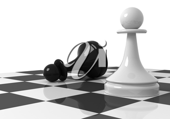 Chess pieces on the chessboard: black and white pawns. 3d render illustration isolated on white background