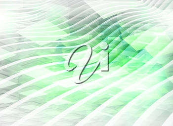 Abstract digital background with light green boxes and waves