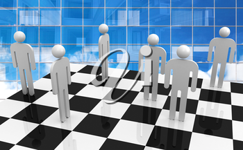 White abstract 3d people stand on chessboard with blue glass office wall on a background. Office workers competition concept