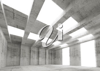 Abstract empty concrete 3d interior with lights and beams