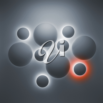 Abstract 3d geometric background with illuminated spheres