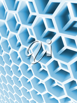 Abstract blue double honeycomb structure. 3d illustration, background texture