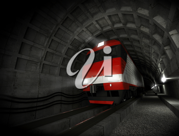 Modern fast red white electric locomotive in the dark tunnel with lights