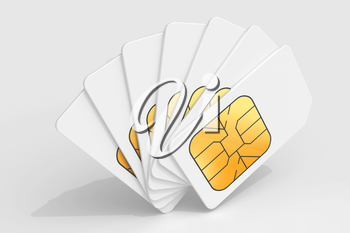 White phone SIM cards in a deck above light gray background. 3d render illustration