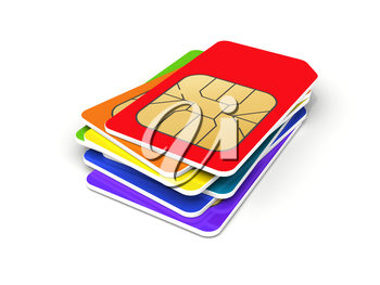 Stack of colorful phone SIM cards isolated on white background. 3d render illustration