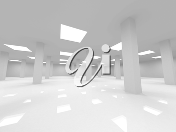 Abstract white open space office 3d interior with columns