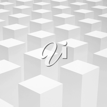 Abstract 3d background with array of identical white boxes