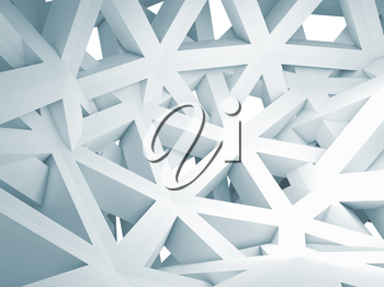 Abstract 3d background with chaotic white triangle polygonal construction