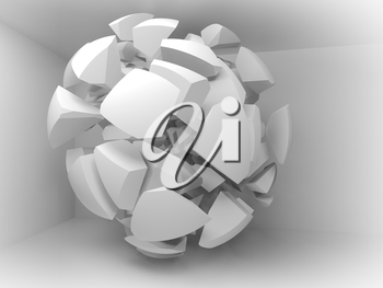 Abstract 3d background with white fragments of big sphere in empty room interior