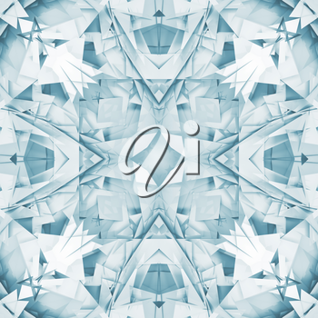 Abstract square seamless blue and white background texture with digital geometric kaleidoscope pattern