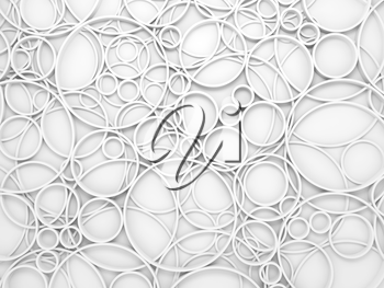 Abstract white 3d background with chaotic intersected relief circles pattern