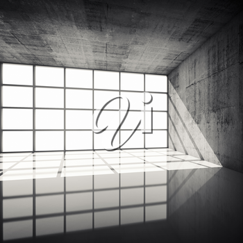 Abstract architecture background, empty concrete interior with bright windows in modern frames, 3d illustration with retro toned filter, instagram style