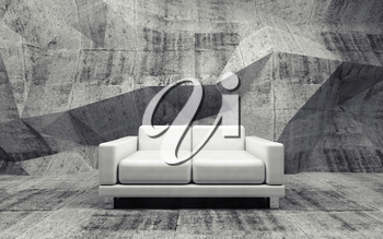 Abstract interior, concrete room with white leather sofa, 3d illustration