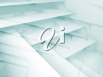 Abstract digital background with white and blue multi layered structures, 3d illustration