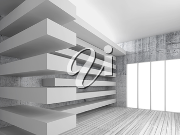 Empty white interior background with wooden floor, concrete walls and decorative beams, 3d illustration