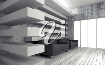 White interior background with decoration beams, black leather sofas and empty windows, 3d render illustration