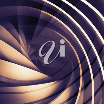 Abstract square dark digital background, 3d spiral structure