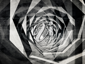 Dark hypnotic tunnel with concrete texture. Abstract digital background, computer graphic concept useful as a screen wallpaper, 3d illustration