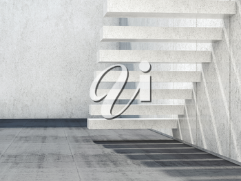 Abstract empty white interior background with stone stairs and concrete floor. 3d render illustration
